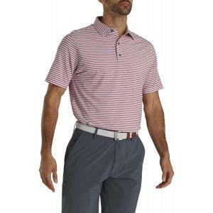 FootJoy Stretch Lisle Pinstripe Golf Polo White/Red/Navy 26622