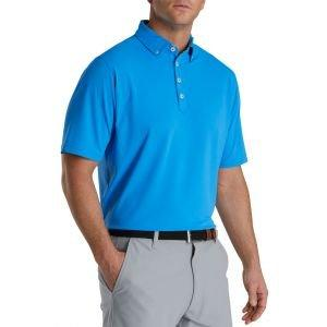 FootJoy Stretch Pique Floral Trim Buttondown Collar Golf Polo French Blue
