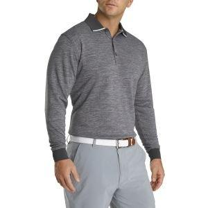FootJoy Thermacool Long Sleeve Knit Collar Golf Polo Charcoal Heather 21524
