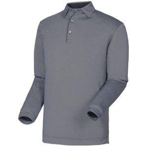 FootJoy Thermolite Birdseye Jacquard Self Collar Long Sleeve Golf Polo Black - 26045