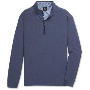 FootJoy Tonal Print Woven Quarter-Zip Golf Pullover Navy 25189
