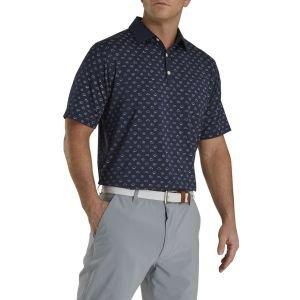 FootJoy Lisle Weather Print Self Collar Golf Polo Navy 26560