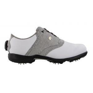 FootJoy Womens Dryjoys Boa Golf Shoes - White Leather/Zebra Saddle 99018