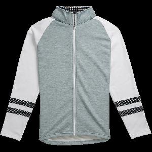 FootJoy Womens Full-Zip Raglan Color Block Mid-Layer Golf Jacket Heather Grey/White/Black 27620
