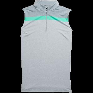 FootJoy Womens Lisle Sleeveless Zip Golf Shirt Heather Grey/White/Jade Stone 26242
