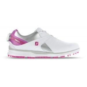 FootJoy Womens Pro SL Boa Golf Shoes White/Silver/Rose 98119