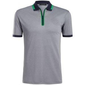 G/FORE Embossed Quarter Zip Golf Polo Light Heather Grey