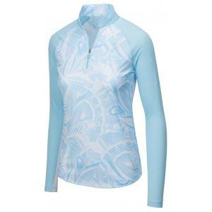 Greg Norman Women's Long Sleeve Solar XP Etched Leaf 1/4 Zip Mock Golf Polo