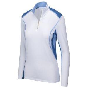 Greg Norman Ladies Long Sleeve Solar XP Prestine 1/4 Zip Golf Polo
