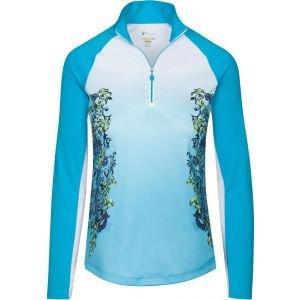 Greg Norman Womens Solar XP 1/4 Zip Floral Scroll Long Sleeve Golf Mock - ON SALE