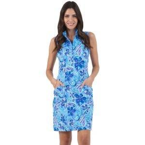 IBKUL Women's Allie Print Sleeveless Mock Golf Dress