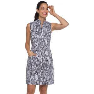 IBKUL Women's Carie Print Sleeveless Mock Golf Dress