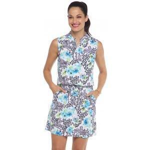 IBKUL Women's Eva Print Sleeveless Drawstring Golf Dress