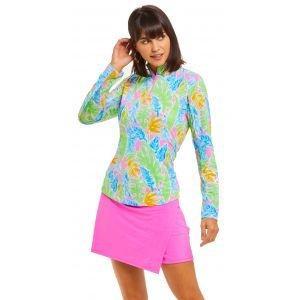 IBKUL Ladies Allison Print Long Sleeve Mock Neck Golf Top 10748