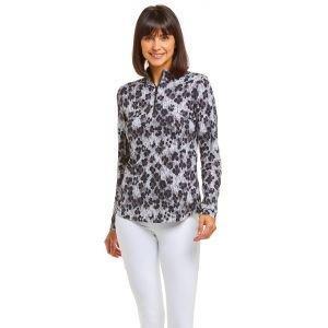IBKUL Ladies Le Leopard Print Long Sleeve Zip Mock Neck Golf Top 10752