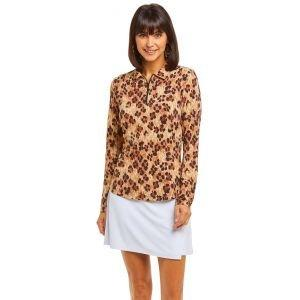 IBKUL Ladies Le Leopard Print Long Sleeve Golf Polo 41752
