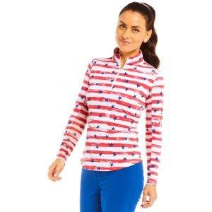 IBKUL Women's Memorial Print Long Sleeve Mock Neck Golf Top