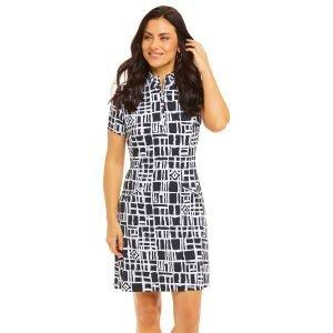 IBKUL Ladies Out Of The Box Print Mock Golf Dress