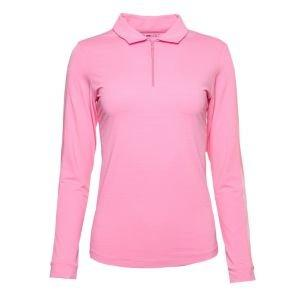 Ibkul Womens Solid Long Sleeve Golf Polo (Outer Mesh Panel) - 86000