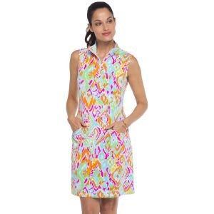 IBKUL Women's Tillie Print Sleeveless Mock Golf Dress