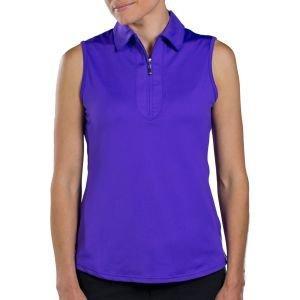 JoFit Womens Jacquard Sleeveless Polo Shirt