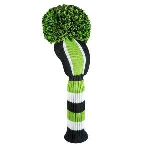 Just4Golf Vertical Stripe Driver Head Cover Lime/Black/White