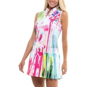 Lucky In Love Women's Sleeveless Painted Floral Golf Dress