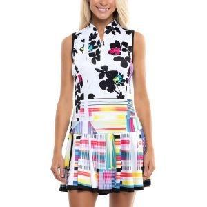 Lucky In Love Womens Sleeveless Patchwork Floral Golf Dress