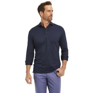 Mizzen+Main Wilson Long Sleeve Golf Polo Navy Solid