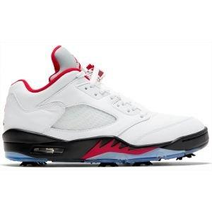 Nike Air Jordan V Low Golf Shoes White/Black/Metallic Silver/Fire Red