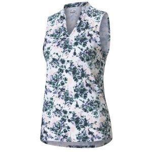 PUMA Women's CLOUDSPUN Floral Tie Dye Sleeveless Golf Polo