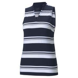 PUMA Women's CLOUDSPUN Valley Stripe Sleeveless Golf Polo