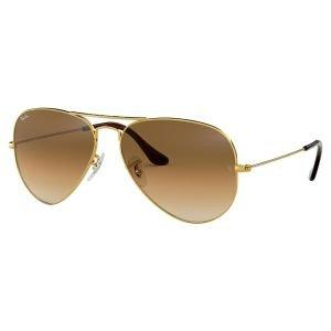 Ray Ban Aviator Gradient Gold Sunglasses - Light Brown Gradient Lens