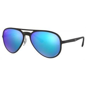 Ray-Ban RB4320CH Black Sunglasses - Polarized Blue Gradient Mirror Chromance Lens