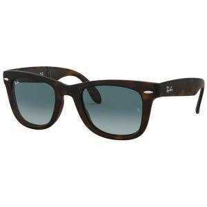 Ray-Ban Wayfarer Folding Tortoise Sunglasses - Blue Gradient Lens