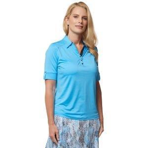 Sport Haley Womens Blu Elbow Sleeve Solid Golf Polo - ON SALE - MEDITERRAN SEA - XXL