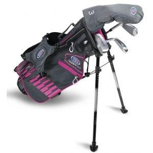 U.S. Kids UL45 4 Club Junior Golf Set - Grey/Pink Bag