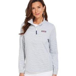 vineyard vines Womens Micro Stripe Lightweight Sankaty Shep Pullover Golf Shirt