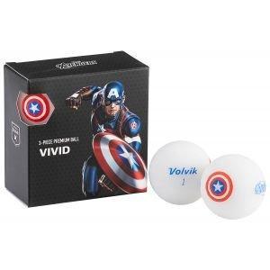 Volvik Vivid Marvel Square Pack Captain America Golf Balls