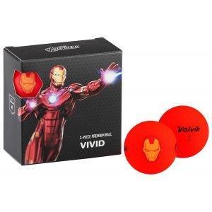 Volvik Vivid Marvel Square Pack Iron Man Golf Balls