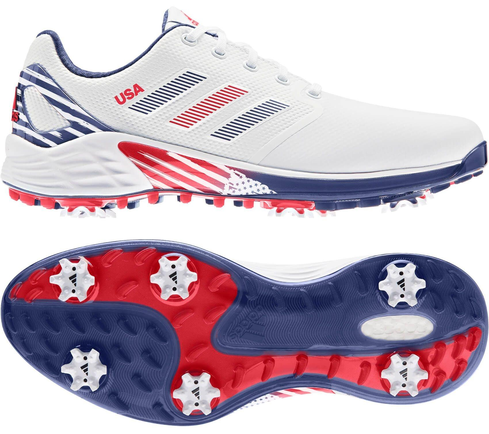 adidas ZG21 USA Limited Edition Golf Shoes 2021 - White/Crew Navy/Vivid Red