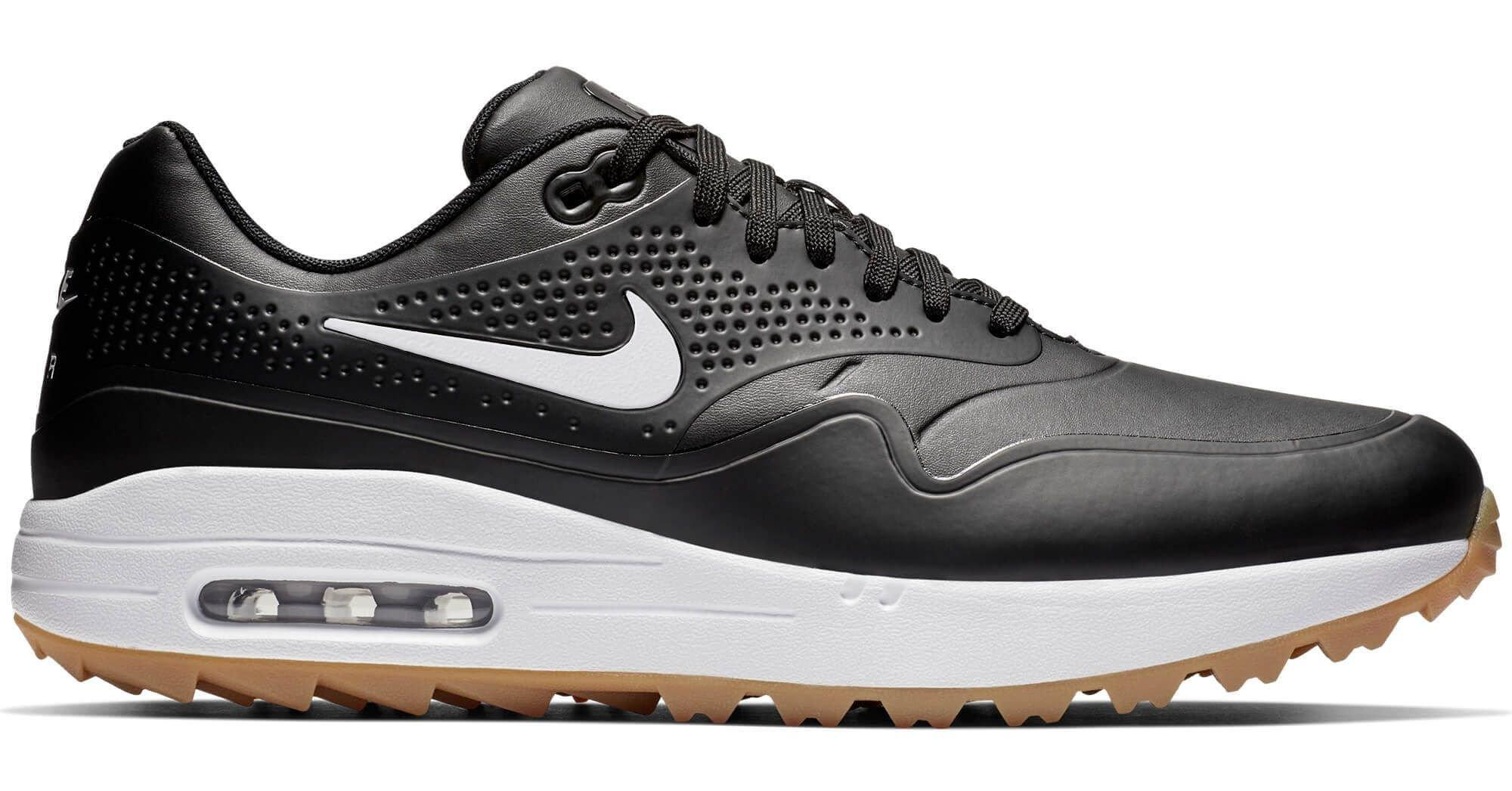 Nike Air Max 1 G Golf Shoes Black/White/Gum - Contrast Swoosh