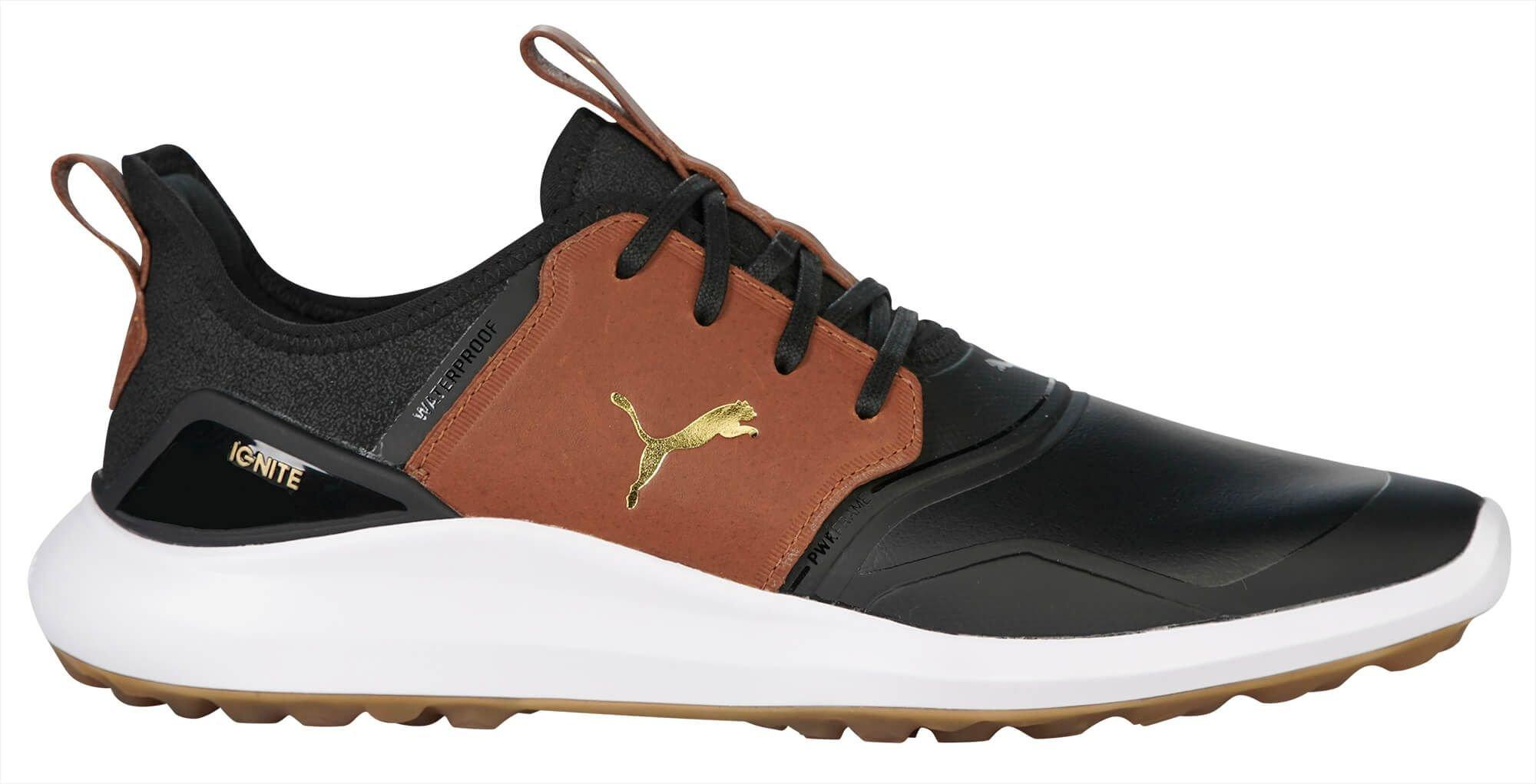Puma Ignite Nxt Crafted Golf Shoes 2020 Puma Black Leather Brown Team Gold Carl S Golfland