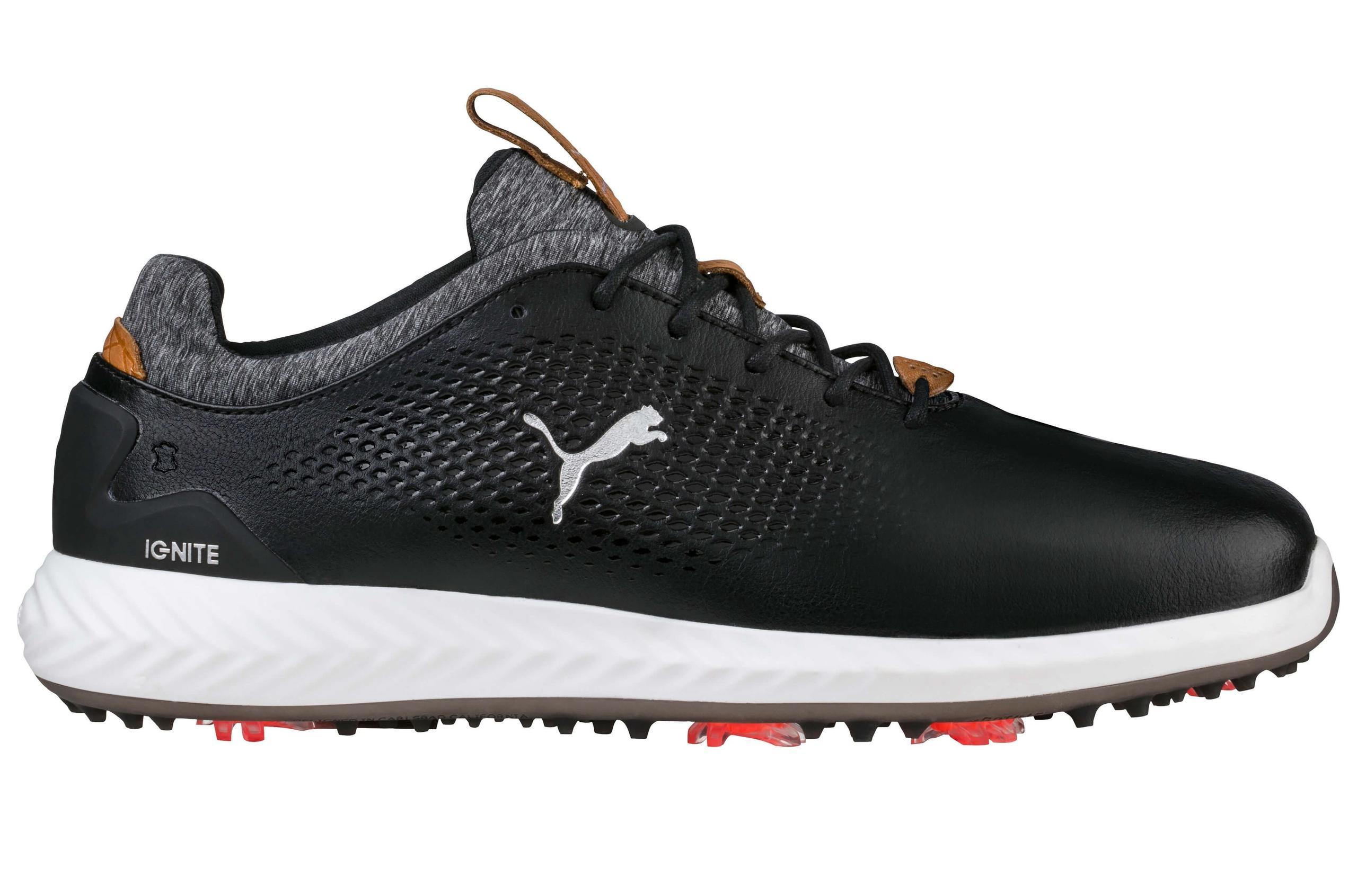 Puma Ignite Pwradapt Leather Golf Shoes Black On Sale Carl S Golfland