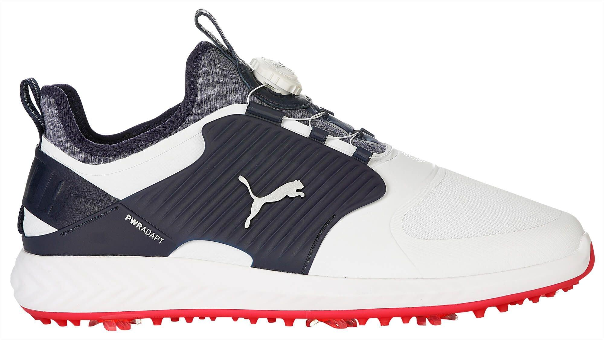 Puma Ignite Pwradapt Caged Disc Golf Shoes 2020 White Silver Peacoat Carl S Golfland