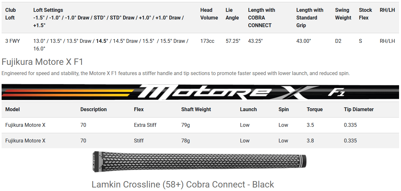 Cobra RADSPEED Big Tour Fairway Wood 2021 - Turbo Yellow/Matte Black